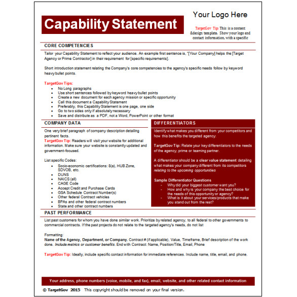 Capability Statement Template Word Capability Statement Editable Template Tar Gov