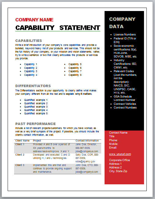 Capability Statement Template Word Get Started Quickly