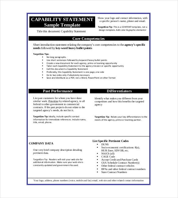 Capability Statement Template Word Statement Templates – 30 Free Word Excel Pdf Indesign