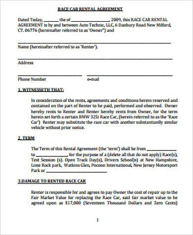 Car Rental Agreement Template 8 Car Rental Agreement Samples Free Word Pdf format