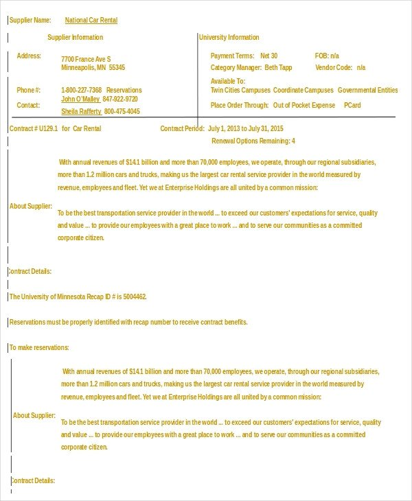 Car Rental Agreement Template Car Rental Agreement 12 Free Word Pdf Documents