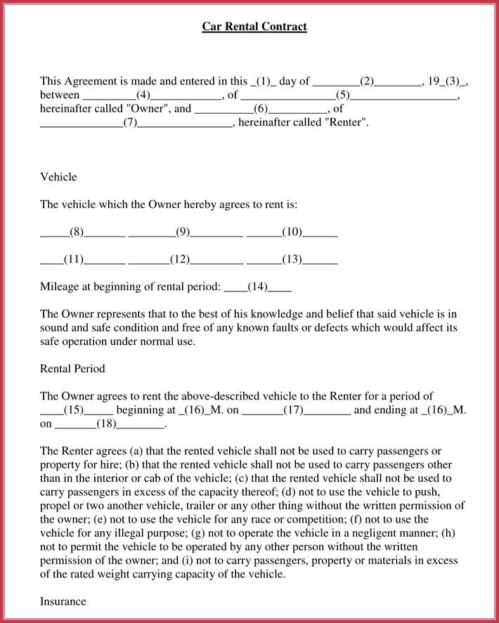 Car Rental Agreement Template Car Rental Agreement 7 Samples forms Download In