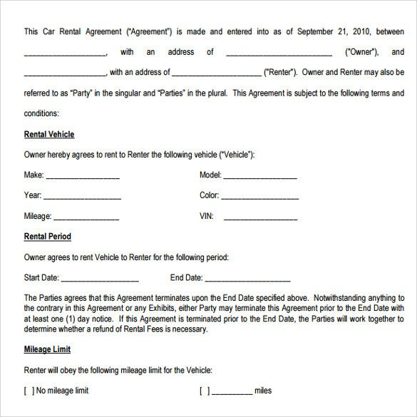 Car Rental Agreement Template Car Rental Agreement Templates 12 Free Documents In Pdf