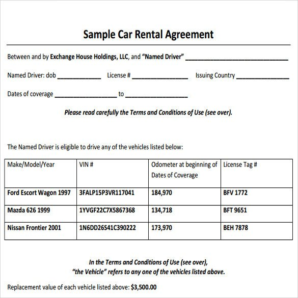 Car Rental Agreement Template Sample Car Rental Agreement 12 Documents In Pdf Word