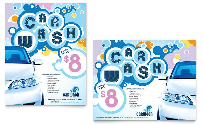 Car Wash Flyer Template Free Car Wash Poster Template Word & Publisher