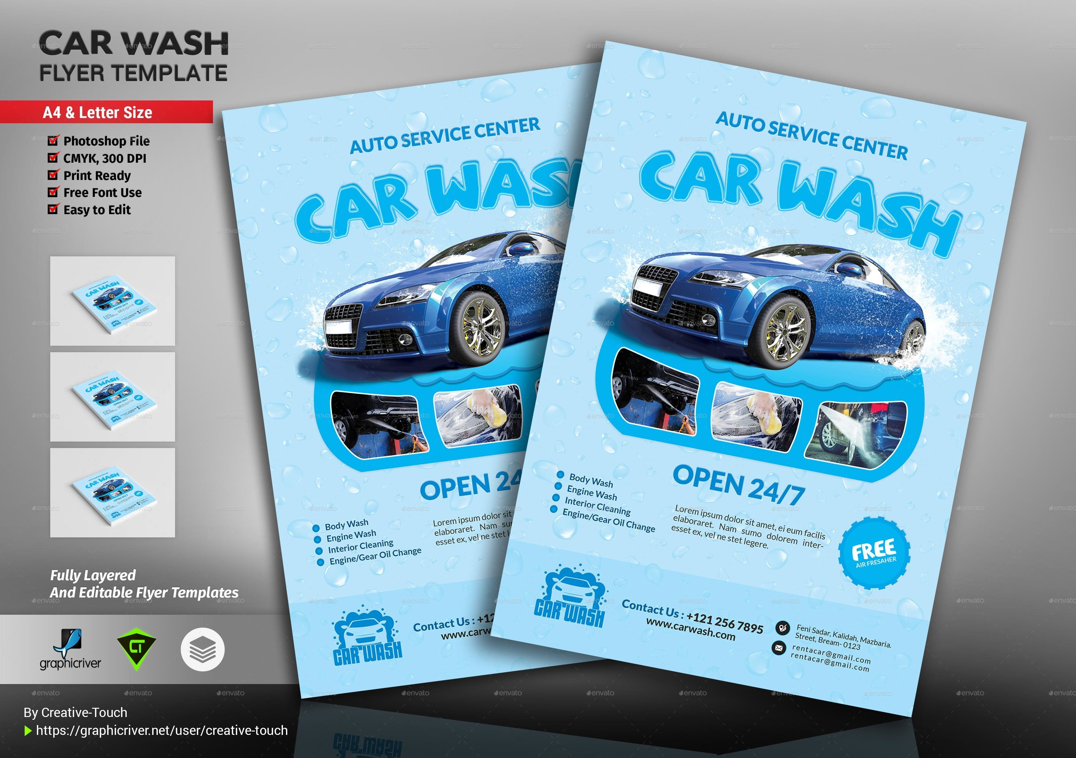 Car Wash Flyers Template Car Wash Flyer Template by Creative touch