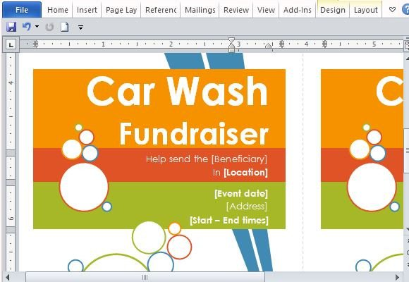 Car Wash Ticket Template Microsoft Word Door Hanger Flyers Template for Word