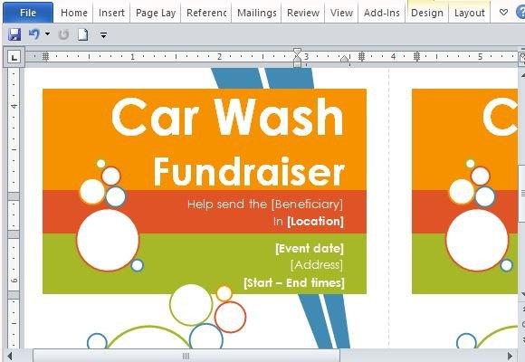 Car Wash Ticket Template Microsoft Word Door Hanger Flyers Template for Word