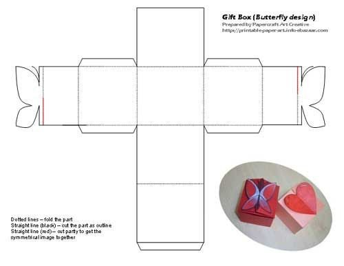 Cardboard Box Template Generator Printable butterfly and Heart Shaped Tiny T Box