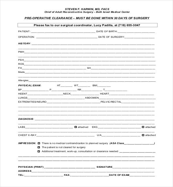 Cardiology Consult Template 27 Sample Medical Clearance forms