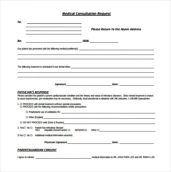 Cardiology Consult Template Sample Medical Consultation form 11 Download Free