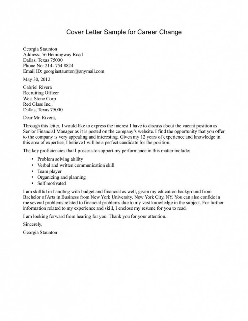 Career Change Cover Letter 10 Sample Of Career Change Cover Letter