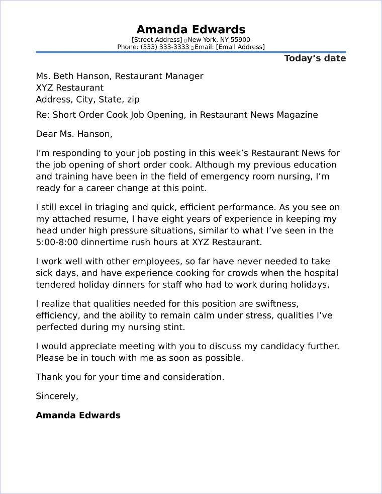 Career Change Cover Letter Career Change Cover Letter Example
