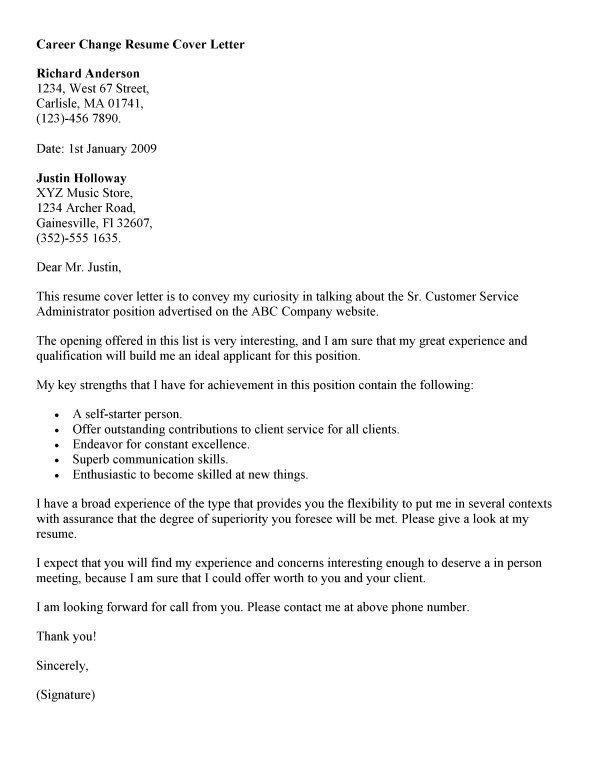 Career Change Cover Letter Career Change Cover Letter