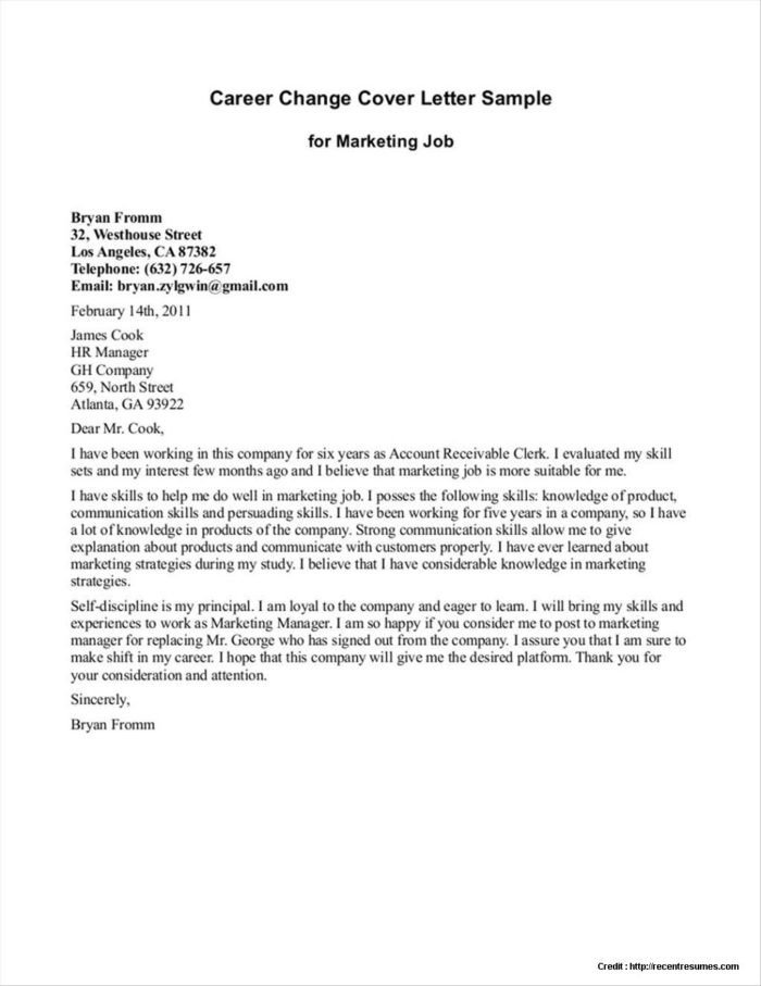 Career Change Cover Letter Change Management Impact assessment Example Templates