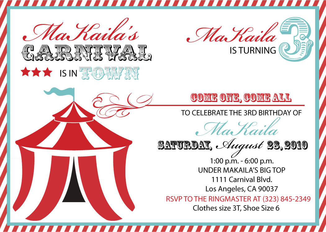 Carnival Invitation Template Free 40th Birthday Ideas Carnival Birthday Invitation Template