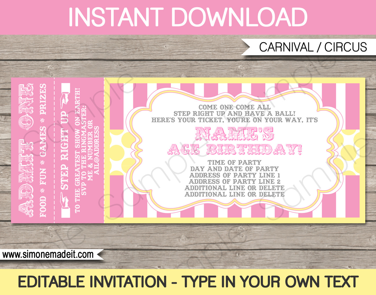 Carnival Invitation Template Free Carnival Birthday Ticket Invitations Template