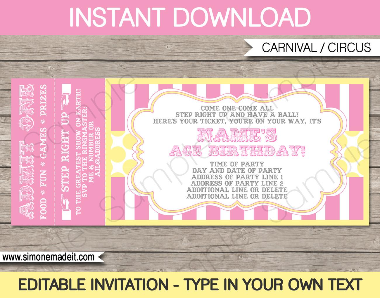 Carnival Invitation Template Free Carnival Birthday Ticket Invitations Template