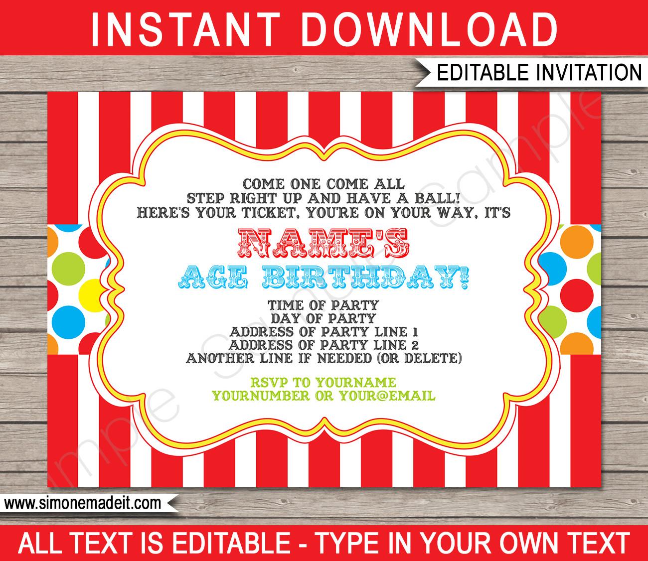 Carnival Invitation Template Free Carnival Invitation Template