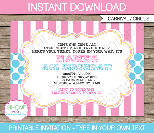 Carnival Invitation Template Free Carnival Party Invitations Template Pink Aqua