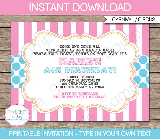 Carnival Invitation Template Free Carnival Party Invitations Template Pink Aqua