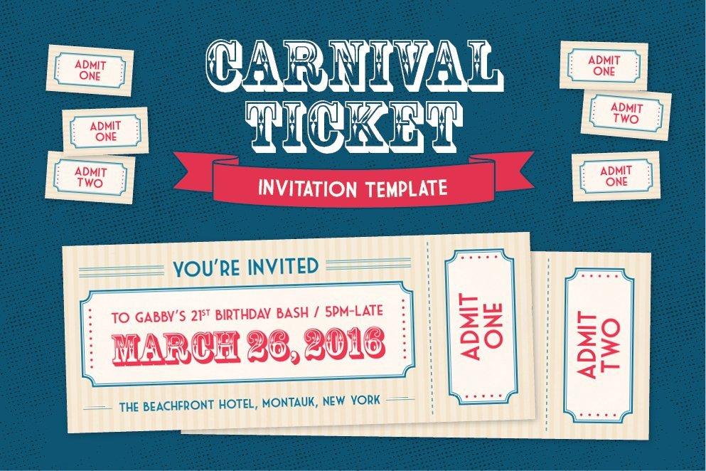 Carnival Invitation Template Free Carnival Ticket Invitation Template Invitation Templates