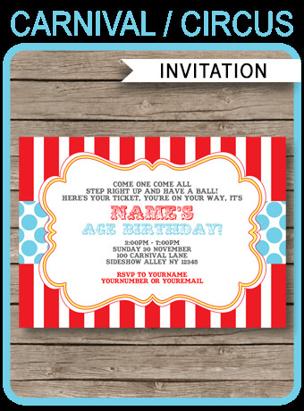 Carnival Invitation Template Free Circus Invitation Template Red Aqua