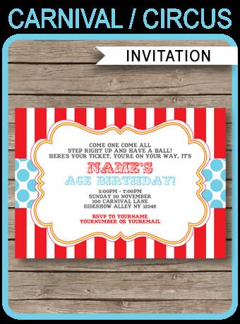 Carnival Invitation Template Free Circus Invitation Template Red Aqua