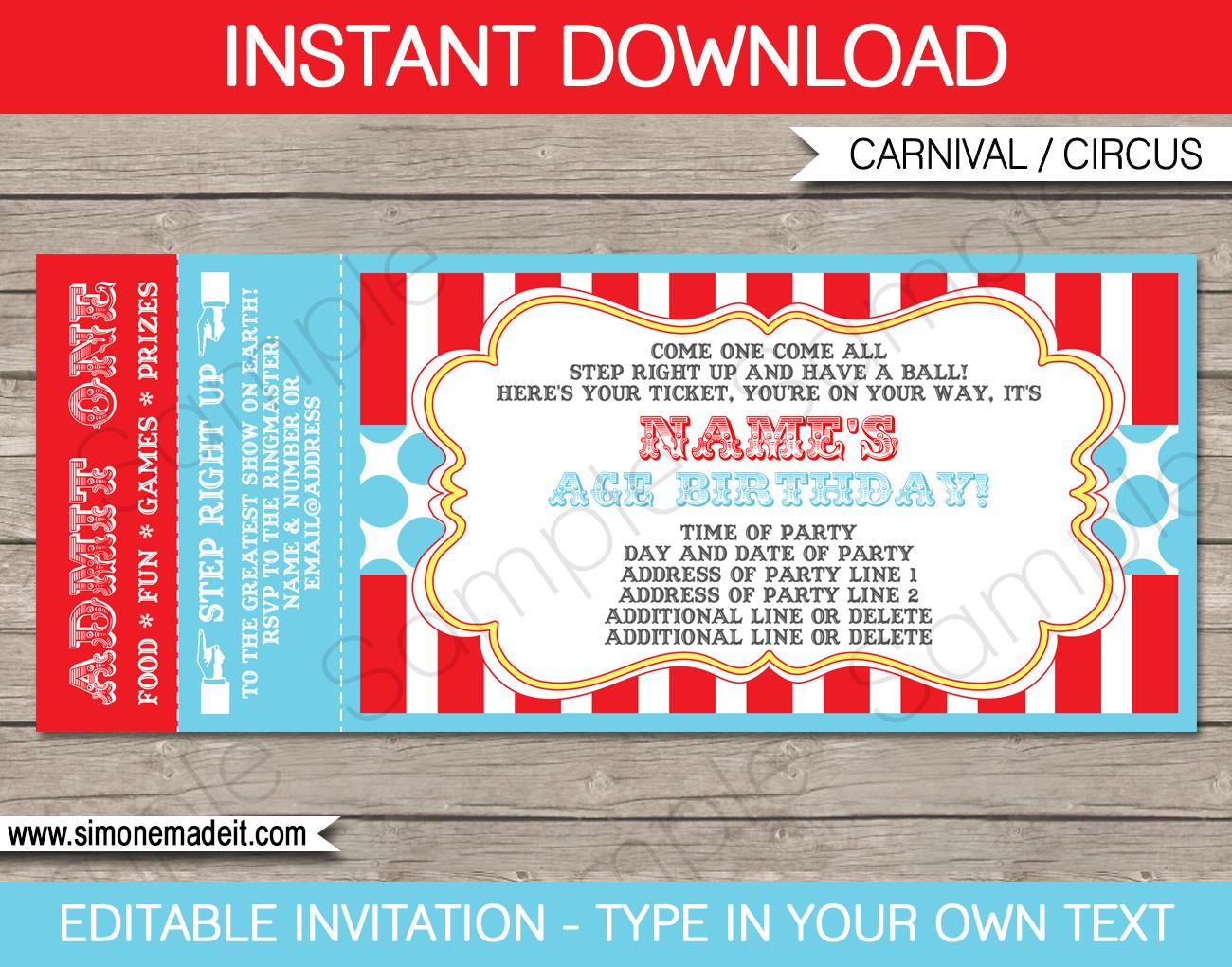 Carnival Invitation Template Free Circus Ticket Invitation Template