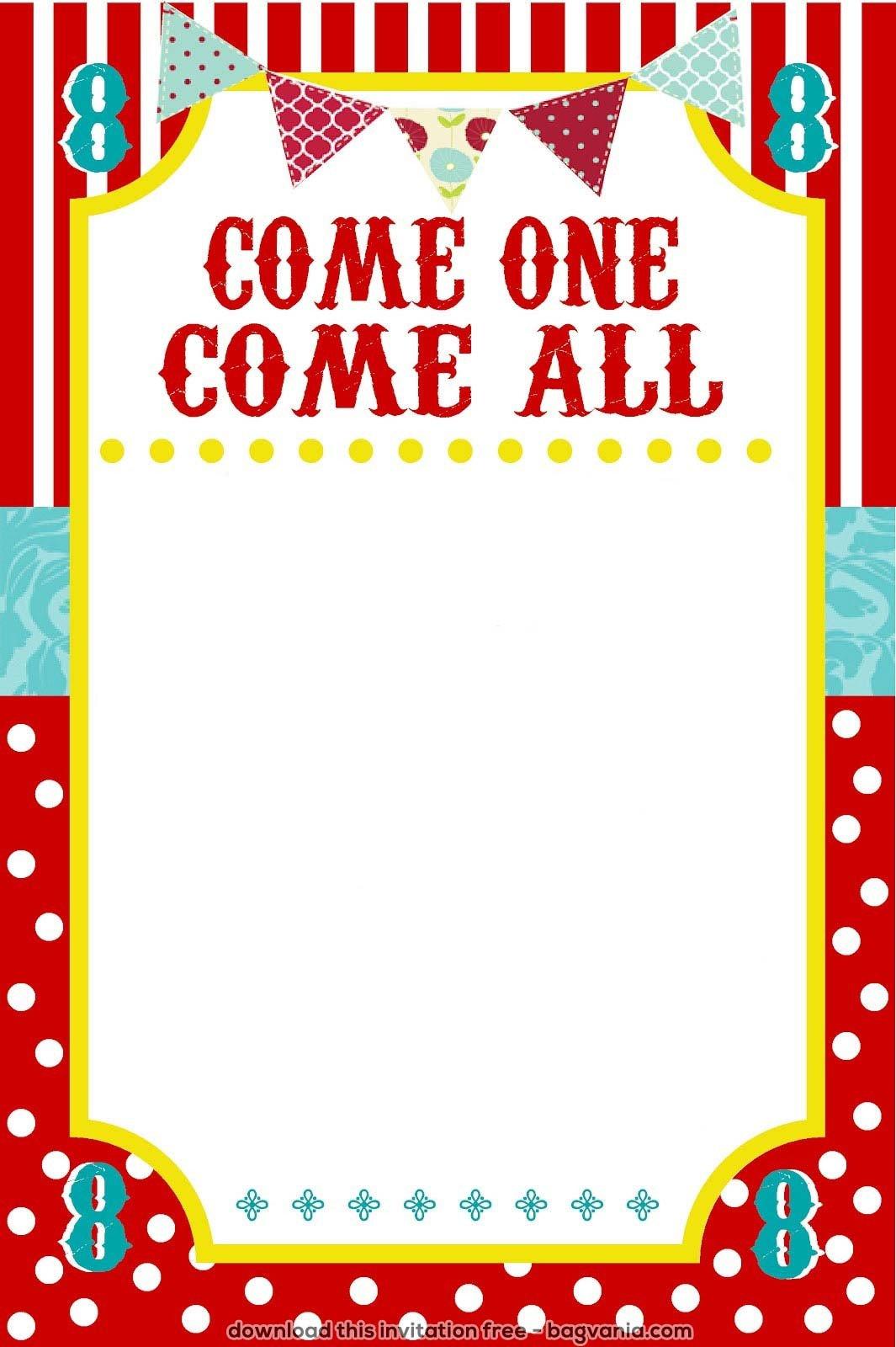 Carnival Invitation Template Free Free Carnival Birthday Invitations – Free Printable