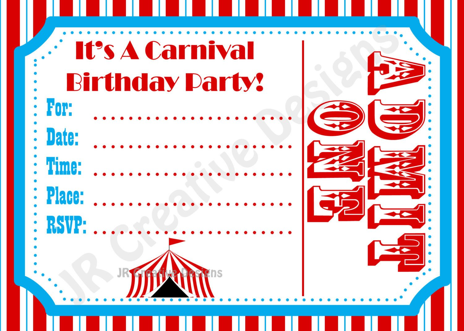 Carnival Ticket Invitation Template Free Carnival Invite Circus Invite Circus by Jrcreativedesigns