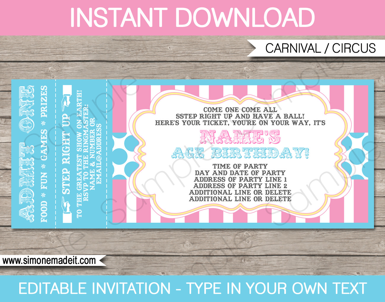 Carnival Ticket Invitation Template Free Carnival Party Ticket Invitations Template