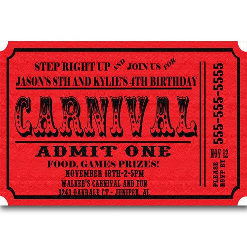 Carnival Ticket Invitation Template Free Carnival Ticket Birthday Party Invitations Announcement