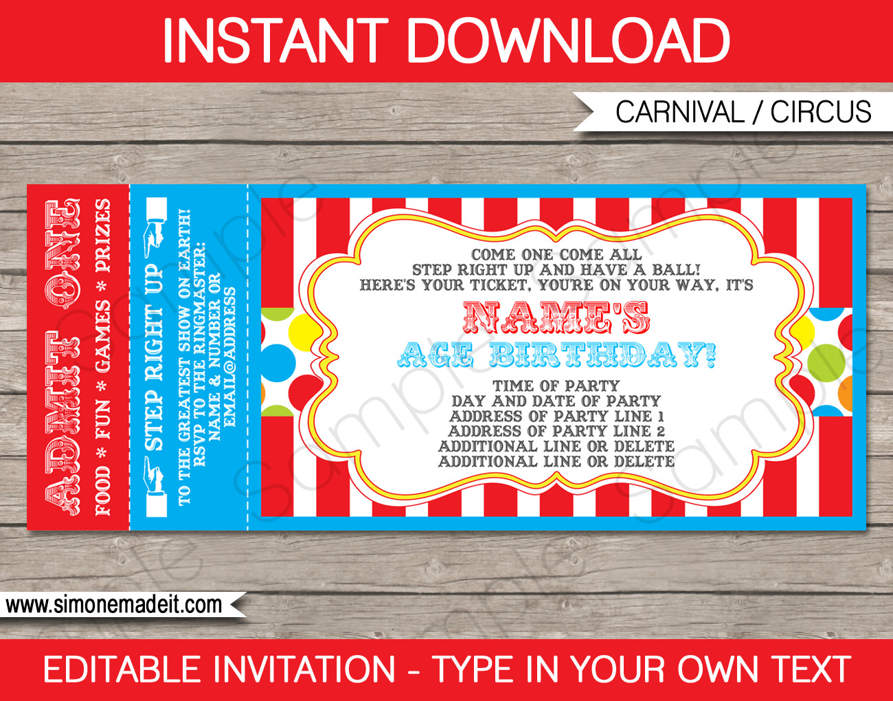Carnival Ticket Invitation Template Free Carnival Ticket Invitation Template
