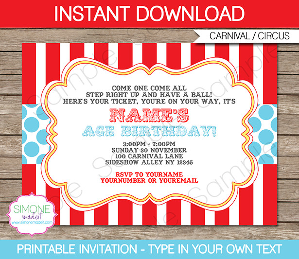 Carnival Ticket Invitation Template Free Circus Invitation Template Red Aqua