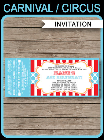 Carnival Ticket Invitation Template Free Circus Party Ticket Invitation Template