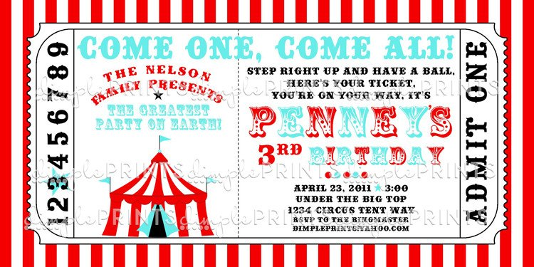 Carnival Ticket Invitation Template Free Circus Tent Ticket Printable Invitation Dimple Prints Shop
