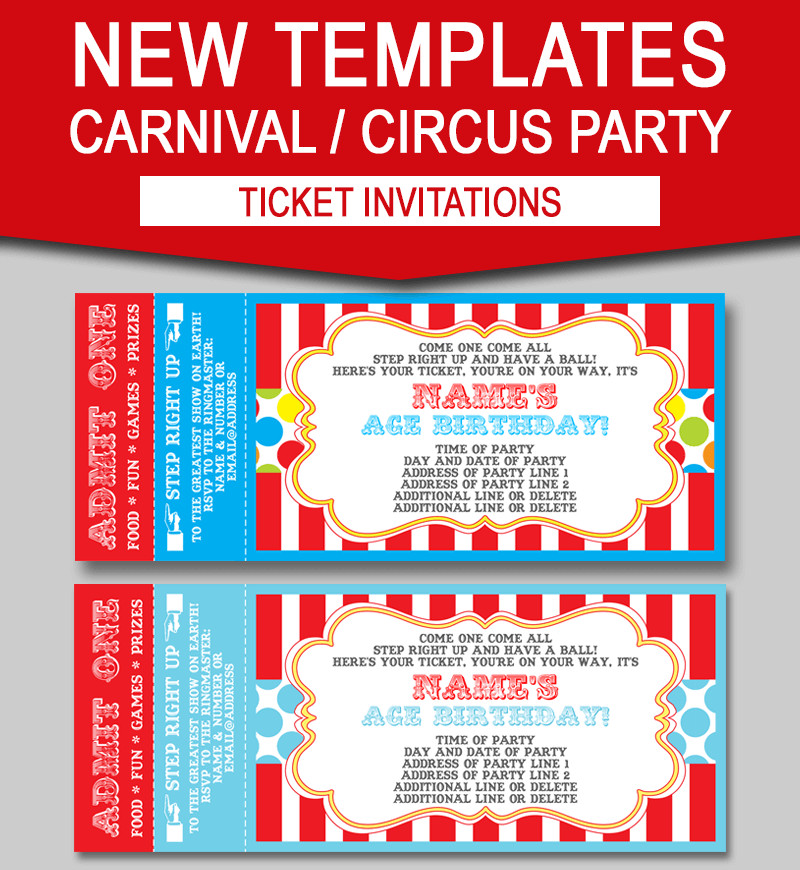 Carnival Ticket Invitation Template Free Editable Carnival Ticket Invitations