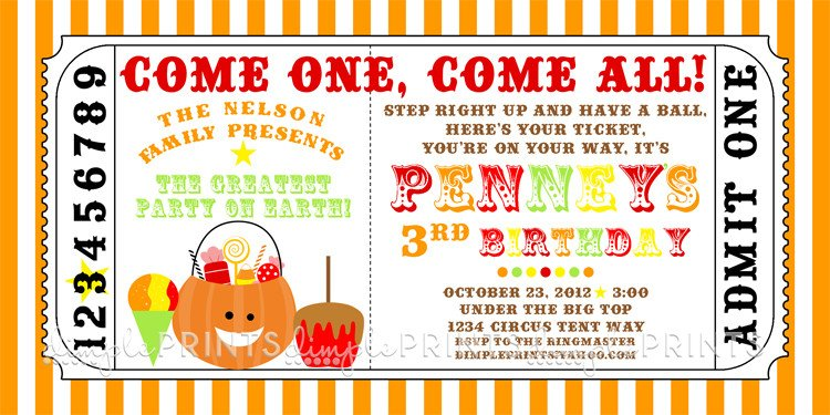 Carnival Ticket Invitation Template Free Fall Carnival Printable Ticket Invite Dimple Prints Shop