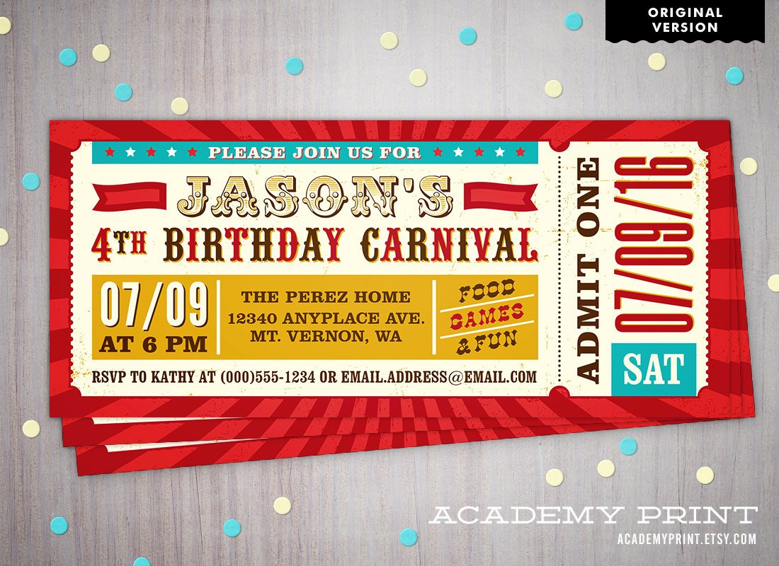 Carnival Ticket Invitation Template Free Printable Children S Birthday Carnival Ticket Invitation