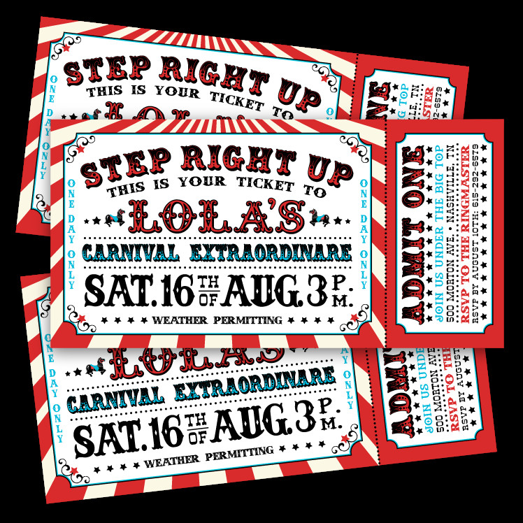 Carnival Ticket Invitation Template Free Vintage Carnival Ticket Invitations – Ian & Lola Design