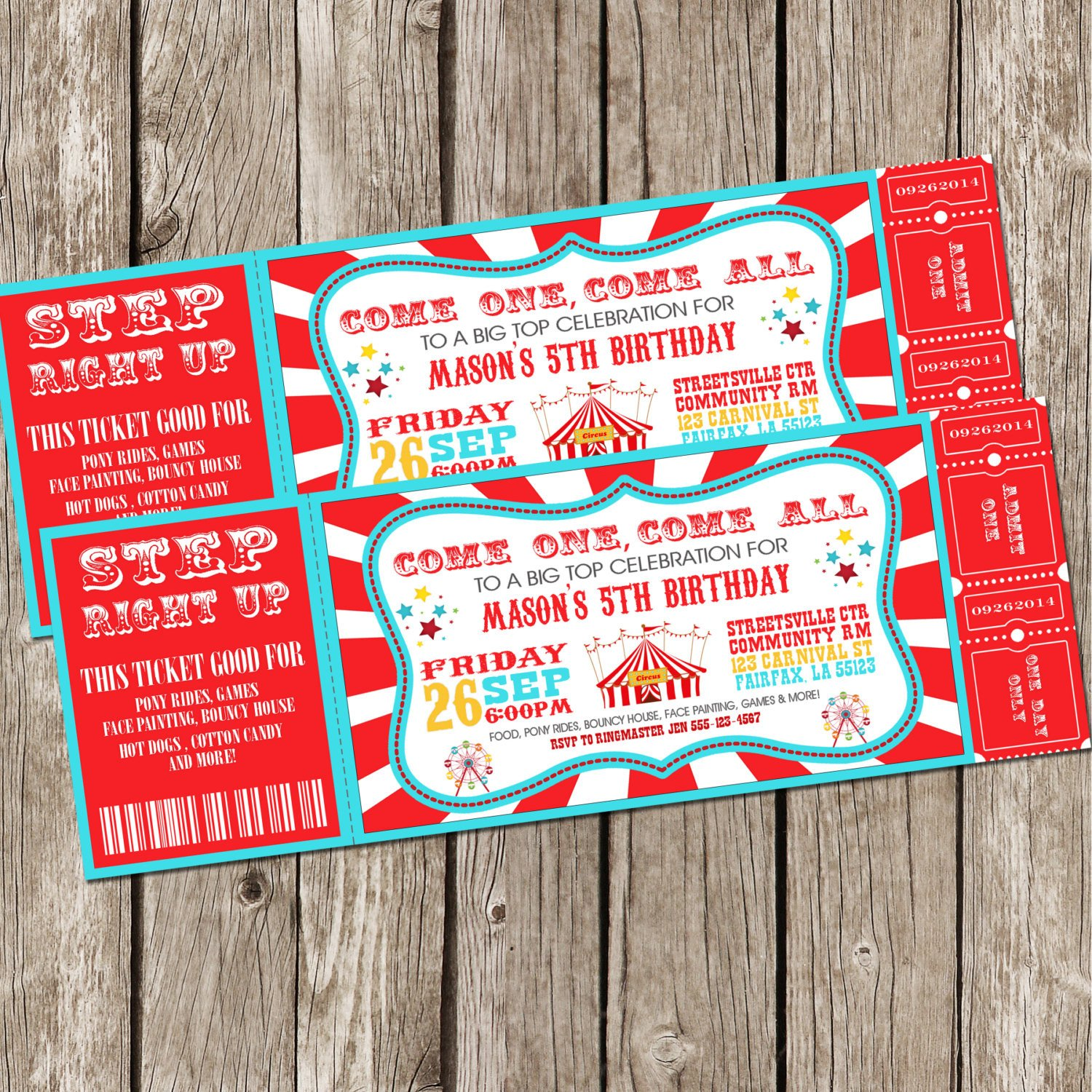 Carnival Ticket Invitation Template Free Vintage Circus Carnival Invitation Ticket Invitation