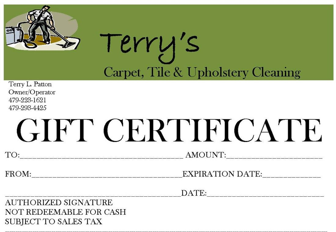 Carpet Cleaning Gift Certificate Template Gift Certificate Available for Terry S Carpet Tile