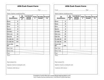 Cash Drawer Count Sheet Template asb Cash Count form by Candice Renaker