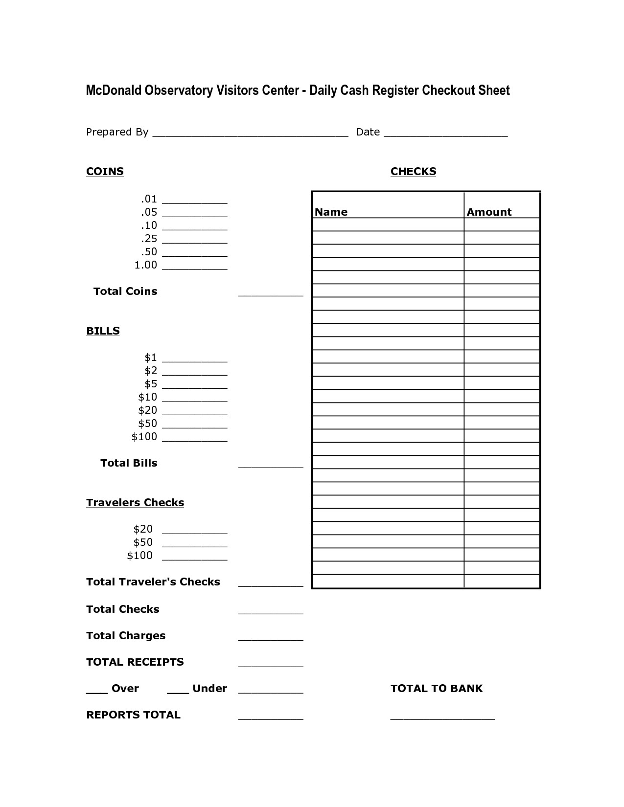 Cash Drawer Count Sheet Template Cash Drawer Count Sheet Template