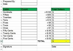 Cash Drawer Count Sheet Template Cash Register Till Balance Shift Sheet In Out Template
