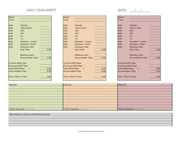 Cash Drawer Count Sheet Template Daily Cash Sheet 3 Shifts Template