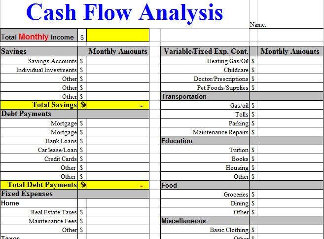 Cash Flow Analysis Template Cash Flow Analysis Worksheet Template