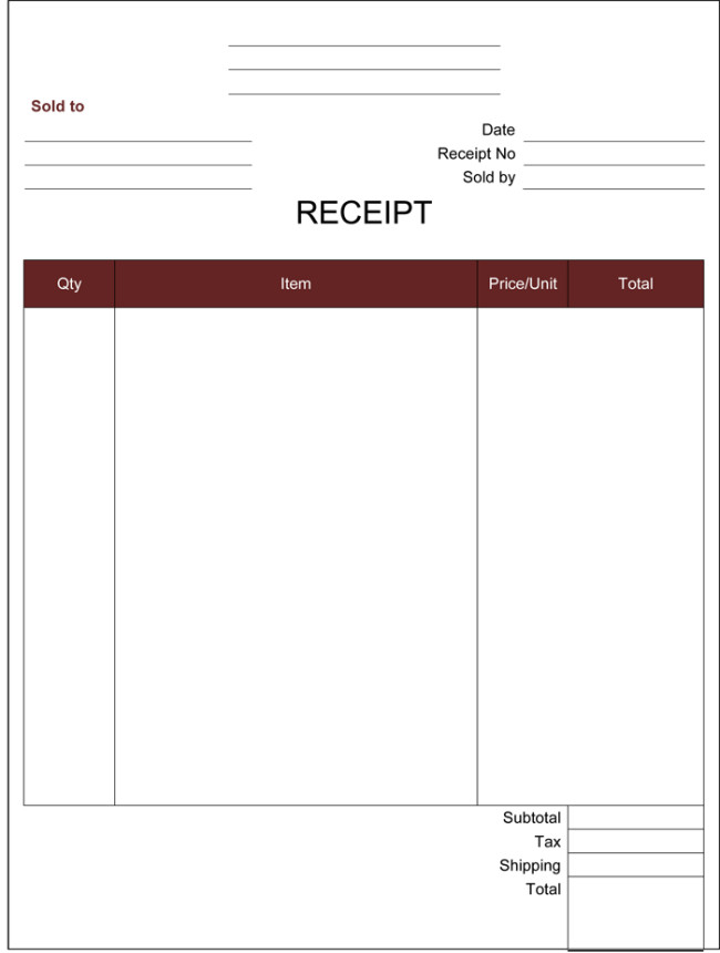 Cash Receipt Template Word Doc Cash Receipt Template 5 Printable Cash Receipt formats
