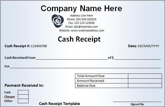 Cash Receipt Template Word Doc Cash Receipt Template